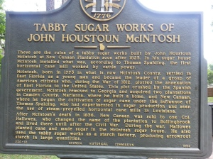 The sign describing the history of Tabby Sugar Works.